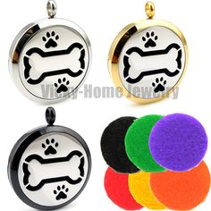 Round  Silver (30mm) Aromatherapy Essential Oils Stainless Steel Perfume Diffuser Locket Dog Bone Paw