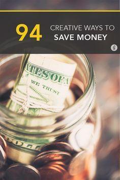 94 Creative Ways to Save Money Today #savings #money #finances money saving hacks, saving money hacks