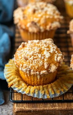 Pumpkin streusel muffins are moist pumpkin muffins topped with a sweet streusel crumble. These muffins are great for breakfast or dessert!