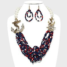 Nautical Gold Anchor Crystal Accent Pearl Bead Necklace and Earring. Get the lowest price on Nautical Gold Anchor Crystal Accent Pearl Bead Necklace and Earring and other fabulous designer clothing and accessories! Shop Tradesy now