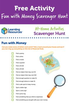 Check out this FREE Fun with Money Scavenger Hunt Activity to keep your little one entertained and learning for hours! There is endless adventures to be had with this worksheet. Learning Resources offers hundreads of free activities and workbooks for all ages! Learning Resources, Fun Learning, Can You Can, Home Activities, Free Fun, Entertaining, Money, Check, Silver