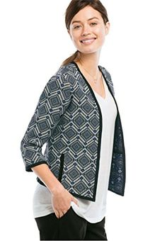 Ellos Women's Plus Size Open Jacquard Jacket