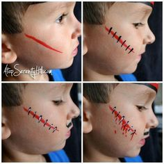 Halloween face painting a simple pirate Adding scars to pirate face paint Simple Halloween Face Painting, Halloween Makeup For Kids, Kids Makeup, Simple Face Painting, Halloween Face Paint Designs, Scar Face Paint, Mime Face Paint, Face Painting Tutorials, Face Painting Designs