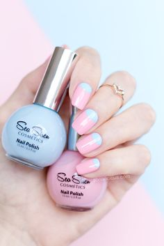 Pink and blue nails with Sea Siren Pamper Me Pink and Sea Mist