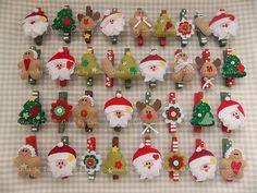 Prendedores decorados de Natal