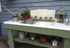 galvanized accents on my potting bench, gardening