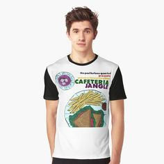 'Paul Bufano Cafeteria Jangle' Graphic T-Shirt by richwear Bold Colors, Chiffon Tops, Shirt Designs, Printed, Awesome, People, Sleeves, Mens Tops, Cotton