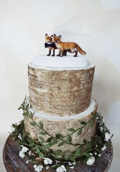 fox bride and groom wedding cake topper rustic by MorganTheCreator