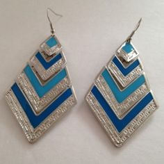 Two-tone blue tribal earrings with silver accents