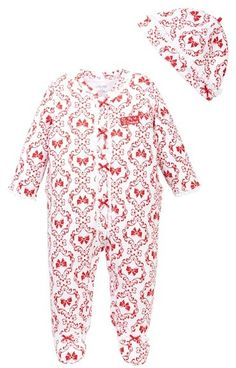 Little Me Damask Footie and Hat (Baby Girls) ac759f7fb