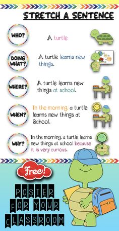 FREE- This super cute poster can be used in your writing center. It will help your students to see how to write more complete sentence and guide them through the process.