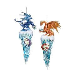 Decorative Fantasy Dragon Christmas Ornaments: Kingdom Of The Ice Collection Set