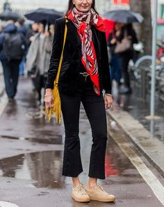 The Right Scarf To Wear With Every Outfit: wear a bold scarf with all black