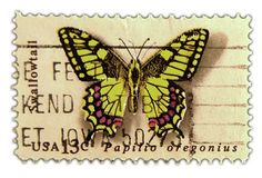 Vintage Postage Stamp Art – 1977 Butterfly Issue Swallowtail @ Vintage Fangirl