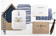 Nautical Waves Wedding Invitation Suite | Navy striped with anchors and hand drawn banners | Smitten On Paper