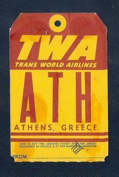Flight Deck, Cabin Crew, Athens Greece, Vintage Airline, Bag Tag, Printmaking, Label, Tags, Book