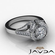 Sturdy Round Diamond Halo Pave Engagement Ring GIA F SI1 14k White Gold 2 2 Ct | eBay