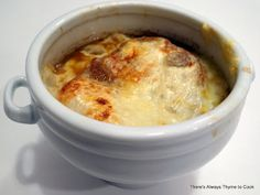 This onion soup sounds like something Alicia would eat what with all the cheese on top.