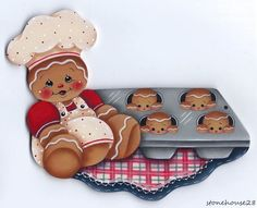 HP Hand Painted Gingerbread Girl & Cupcake~~Fridge Magnet, high by 4 wide, hand painted by me on thick wood with a magnet on back. Gingerbread Decorations, Gingerbread Ornaments, Christmas Gingerbread, Christmas Candy, Christmas Crafts, Christmas Decorations, Christmas Ornaments, Ginger Babies, Ginger Cookies