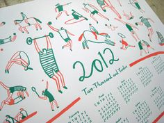 Found worked with Blush publishing and renowned illustrator Charlotte Trounce to produce this Olympic 2012 themed letterpress calendar. via Deeplyimpressed.co.uk