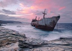 The Semiramis cargo ship at the coast of Andros Island Greece_resultat Abandoned Ships, Abandoned Cities, Top Photos, Pictures, Andros Greece, Costa, Ghost Ship, Shipwreck, Halloween Design