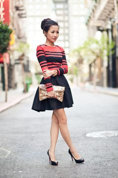 Punchy Neutrals in Crimson & Black  ~ French Connection striped dress (worn as top), ASOS black skirt, sequined gold clutch, and Christian Louboutin black pumps