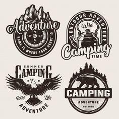 Monochrome camping adventure logos | Free Vector #Freepik #freevector #nature #mountain #bird #animal Berg Logos, Camping Icons, Outdoor Logos, Compass Logo, Free Logo Templates, Mountain Logos, Hipster Logo, Logo Concept, Logo Design Inspiration