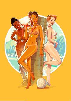 Summer Games, Winter Games, Cyndi Wood, Pin Up, Calendar 2017, Anissa Kate, Beach Volleyball, Summer Olympics, Illustrations