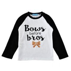 New Full Sleeve Baby Girl T Shirt Round Neck BOWS Letter Print Kids Boy T-shirt Children Tops Girl Clothes #Affiliate