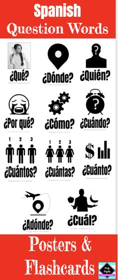 Spanish Question Words - Posters and Flashcards - Schüler Spanish Posters, Spanish Phrases, Spanish Vocabulary, Spanish Words, Spanish Language Learning, Teaching Spanish, Spanish Flashcards, Spanish Teacher, Spanish Basics