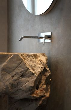 COCOON modern bathroom inspiration bycocoon.com | minimal with stone | stainless steel bathroom taps | washbasins | bathroom design products | renovations | interior design | villa design | hotel design | Dutch Designer Brand COCOON