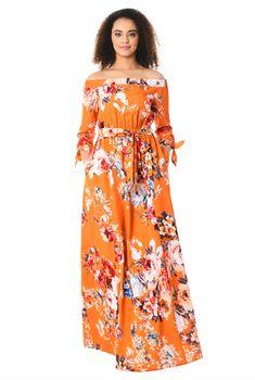 94af650f9b2 Off-the-shoulder rose print crepe maxi dress
