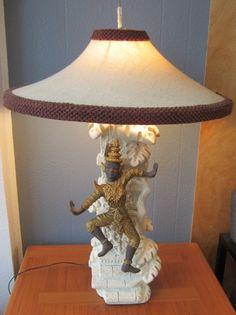 Reglor of California Lamp Thai Dancer w/Original Shade Atomic Mid Century