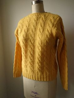 Vintage Sweater 1970's Wool Chunky Knit Yellow  Size Small Warm and Cozy by Brooks Brothers. $27.50, via Etsy.