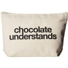 Dogeared Chocolate Understands Lil Zip (Canvas/Black) Handbags ($24) ❤ liked on Polyvore featuring bags, fillers, zip pouch bags, pattern bag, zipper pouch, canvas zipper pouch and zip bag
