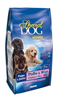 SPECIAL DOG CROQUETTES PUPPY & JUNIOR WITH CHICKEN AND RICE. Complete dog food. Promotes the correct development and growth of your puppy.