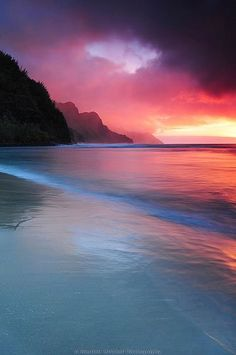 landscape UP pink beach ocean sunset hawaii seascape under uncropped nature Beautiful Sunset, Beautiful Beaches, Beautiful Scenery, Simply Beautiful, Ciel, Belle Photo, Pretty Pictures, Peace Pictures, Amazing Pictures
