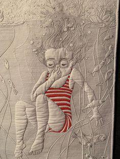 Art quilts - The Jump A Quilt by Cristina Arcenegui Bono Spain – Art quilts Longarm Quilting, Free Motion Quilting, Patchwork Quilting, Machine Quilting, Modern Quilting, Quilt Festival, Quilt Stitching, Applique Quilts, Pocket Letter