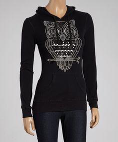 Sweet Girl Black Graphic Owl Hoodie | zulily