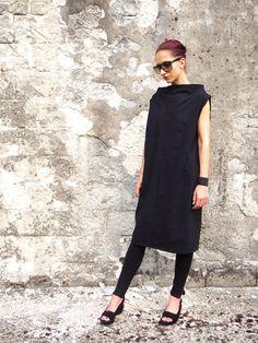 Heavier Weight Black Cotton Jersey Minimalist Oversized Dress/Plus size Women's Black Tunic