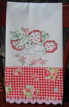 ::A sweet vintage embroidered bluebird and strawberries tea towel that was handmade and stitched with lots of love and detail by me!   :: I have embroidered a sweet vintage Vogart bluebird kitchen pattern on a new high quality flour sack towel, with a red floral gingham print adorned on the bot...