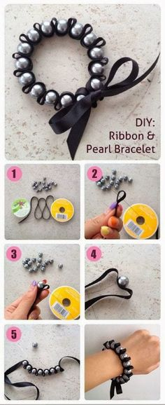 DIY: Ribbon Pearl Bracelet tutorial DIY ribbon pearl bracelet tutorial – Cute bridesmaid's gifts. Make this bracelet in your wedding colors! The post DIY: Ribbon Pearl Bracelet tutorial appeared first on DIY Crafts. Ribbon Bracelets, Woven Bracelets, Pearl Bracelets, Pearl Necklaces, Ankle Bracelets, Jewelry Bracelets, Pearl Beads, Pearl Rings, Bracelets Crafts