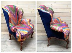 wingback armchair upholstered in antique sari by chezboheme on etsy