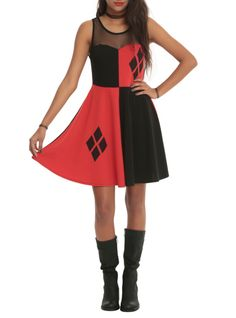 Red and black dress with a Harley Quinn diamond design and mesh shoulder panel.