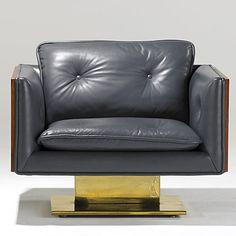 WARREN PLATNER; LEHIGH LEOPOLD - Leather, walnut and brass chair