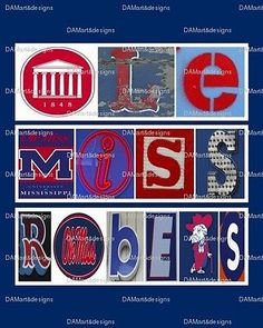 Ole Miss Rebels Framed Alphabet Photo Art by DAMartStudio on Etsy Ole Miss Football, College Football, College Books Online, Alphabet Photos, Ole Miss Rebels, University Of Mississippi, Southern Charm, Southern Ladies, Chicago Cubs Logo