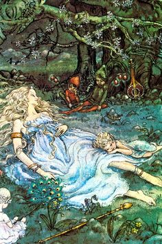 """Lovely Fairy Sleeping Surrounded By Sprites And Elves"" by Harold Gaze"