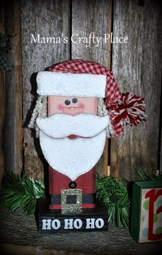 My Santa Claus: I think he turned out darling! Yule Crafts, 2x4 Crafts, Santa Crafts, Christmas Wood Crafts, New Year's Crafts, Christmas Baby, Winter Christmas, Christmas Themes, Holiday Crafts
