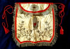 Rare ORNATE EMBROIDERED Antique 1860 ODD FELLOWS APRON! Heart Hand MYSTIC BEAUTY