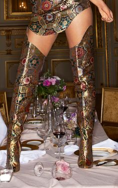 The Gold Oriental Brocade Thigh High Boot. Head online and shop this season's range of shoes at PrettyLittleThing. Perrie Edwards Style, Thigh High Boots Heels, High Heels, Daily Dress, Oriental Design, Party Accessories, Womens Fashion Online, Ankle Straps, Thigh Highs